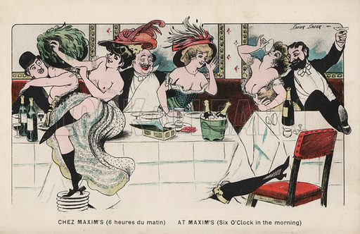 Six o'clock in the morning at Chez Maxim. Postcard, early 20th century.