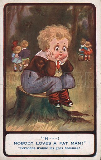 Chubby little boy.  Postcard, early 20th century.