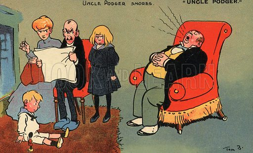 Uncle Podger snores. Postcard, early 20th century.
