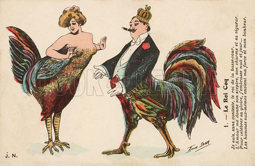 Couple with chicken feathers