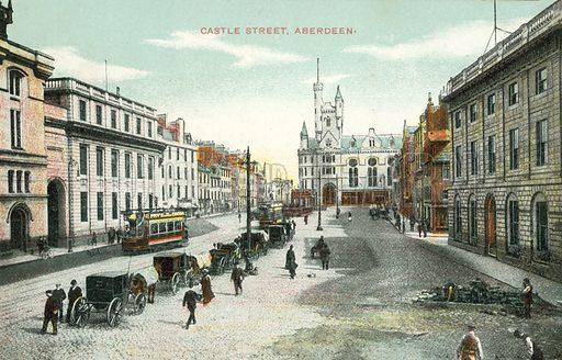 Castle Street, Aberdeen.  Postcard, early 20th century.