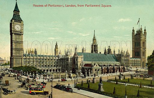 Houses of Parliament, London. Postcard, early 20th century.