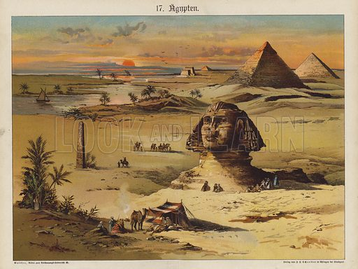 Egypt. Illustration for Bilder zum Anschauungsunterricht fur die Jugend by Eduard Walther (Eklingen, 1891). Double-page lithographs of exceptional quality, capable of reproduction at large size.