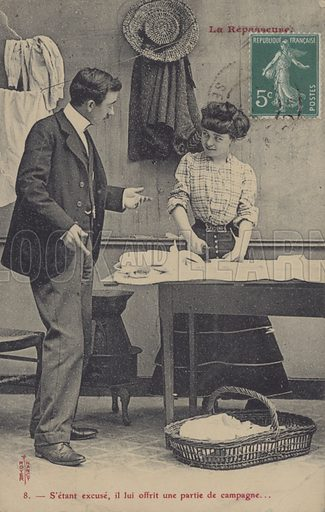 Ironing girl.  One of a series of postcards concerning a girl ironing shirts and a man.
