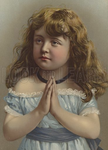 Portrait of a girl with her hands clasped in prayer