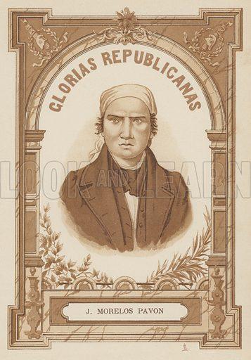 Jose Maria Morelos (1765–1815), Mexican revolutionary and politician, President of Mexico 1814–1815. Illustration from Glorias Republicanas de Espana y America (La Enciclopedia Democratica, Barcelona, 1893).