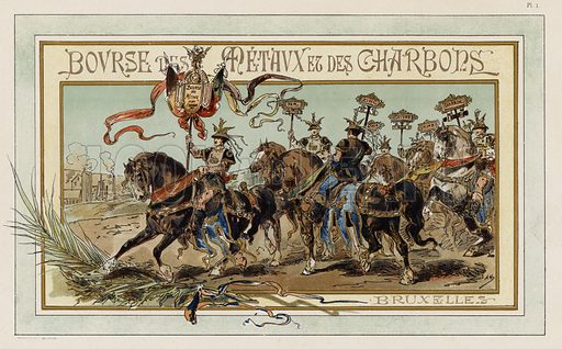 Metals and Coal Exchange, Brussels. Illustration from Cortege Historique des Moyens de Transport, 1890.