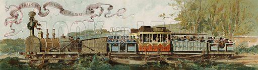 First train from Brussels to Mechelen, Belgium, 1835. Illustration from Cortege Historique des Moyens de Transport, 1890.
