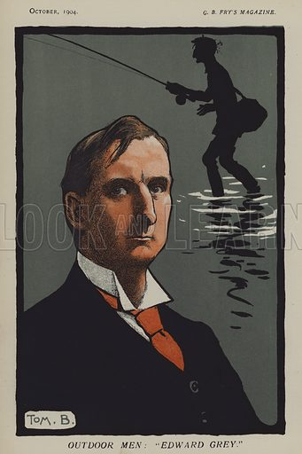 "Outdoor Men: ""Edward Grey"". Edward Grey, 1st Viscount Grey of Fallodon (1862–1933), English Liberal politician. Illustration from CB Fry's Magazine, October 1904."