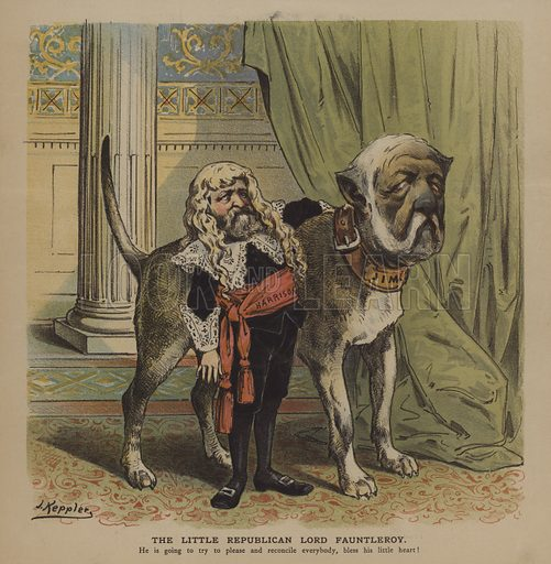 The Little Republican Lord Fauntleroy. US President Banjamin Harrison as Little Lord Fauntleroy and Secretary of State James Blaine as the dog. Illustration for Puck, 6 March 1889.