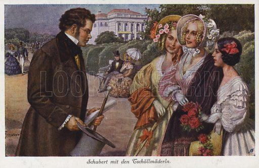 Franz Schubert talking to three young ladies