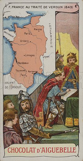 France at the time of the Treaty of Verdun which divided up the Carolingian Empire, 843. French educational card.