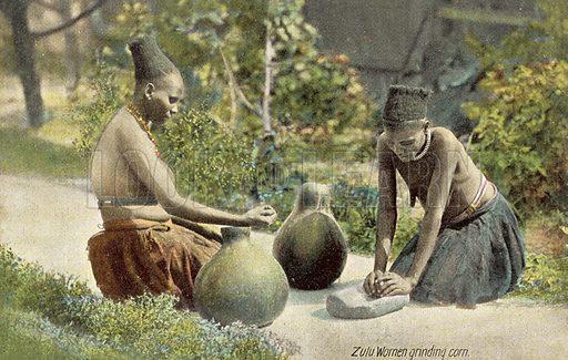 Zulu women grinding corn