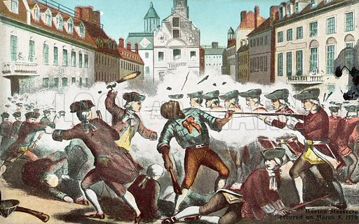 The Boston Massacre, Massachusetts, 5 March 1770. British soldiers fired on citizens of Boston after coming under attack from a mob, killing five people. Postcard, early 20th century.