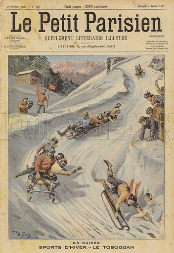 Winter sports: tobogganing in Switzerland. Illustration for Le Petit Parisien, 6 January 1907.