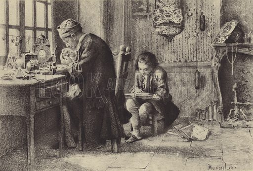 The young Jean-Jacques Rousseau reading while his father works