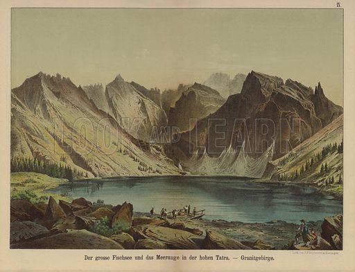 Morskie Oko, lake in the granite High Tatra Mountains. Illustration for Geologische Bilder der Vorwelt und der Jetztwelt by Ferdinand von Hochstetter (JF Schreiber, 1873).