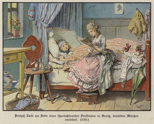 Princesse Louise of Mecklenburg-Strelitz reading at the bedside of a sick village girl in Broich, 1789