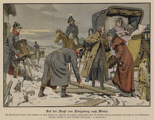 Fleeing the French, the seriously ill Queen Louise of Prussia making a stop at a farmhouse on the road from Konigsberg to Memel, 1 January 1807. Illustration from Die Konigin Luise (Paul Kittel, Berlin, 1896).