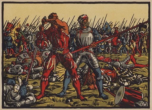 Retreat of the Swiss at the Battle of Marignano, 14 September 1515. Illustration for Notre Histoire by G de Reynold (Sonor, Geneva, 1919).