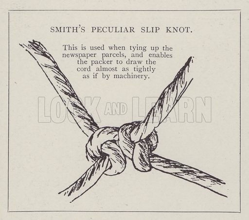WH Smith's peculiar slip knot. Illustration for Fortunes Made In Business, Life Struggles of Successful People (Amalgamated Press, 1901).