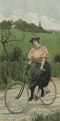 Woman riding a bicycle on a country road. Illustration from Moderne Kunst in Meister-Holzschnitten - nach Gemalden und Skulpturen beruhmter Meister der Gegenwart (Richard Bong, Berlin, c1895).
