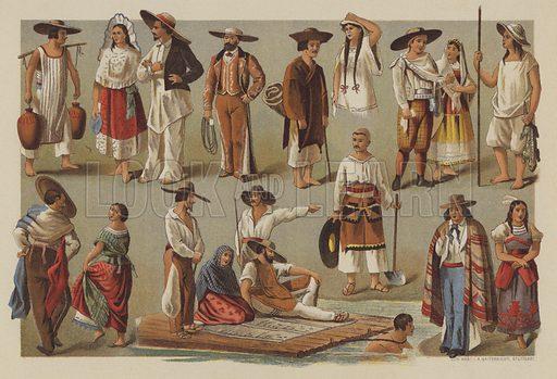 Costumes in Mexico. Illustration from Franz Hoffmann's Deutscher Jugendfreund, Unterhaltung und Veredelung der Jugend (Schmidt & Spring, Stuttgart, 1894).