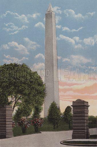 The Washington Monument, Washington DC. Illustration for Washington The City Beautiful (c 1918). Colour lithographs after photographs.