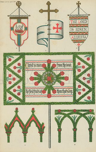Floral decoration of churches. Illustration for Nature and Art (Day & Son, 1866).