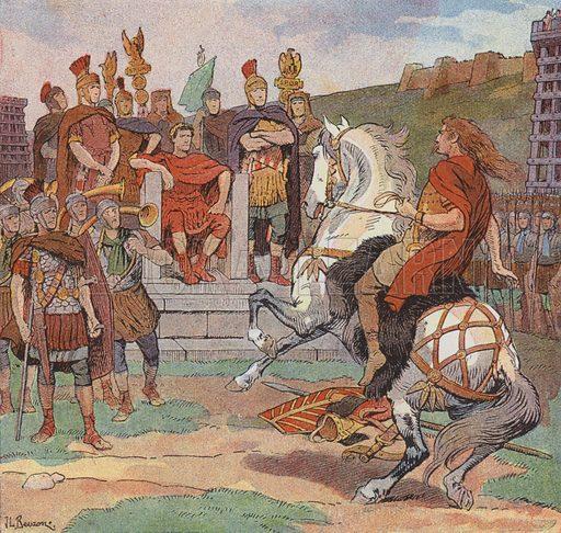 Vercingetorix surrenders to Julius Caesar at Alesia in order to save his besieged army, 52 BC