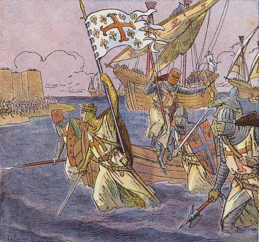 King Louis IX of France landing in Africa on Crusade. Illustration for Histoire de France by A Aymard with illustrations by J and L Beuzon (Hachette, 1933).