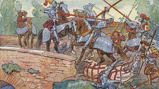 The Chevalier de Bayard single-handedly defending the bridge at Garigliano against the Spaniards, 1503. Illustration for Histoire de France by A Aymard with illustrations by J and L Beuzon (Hachette, 1933).