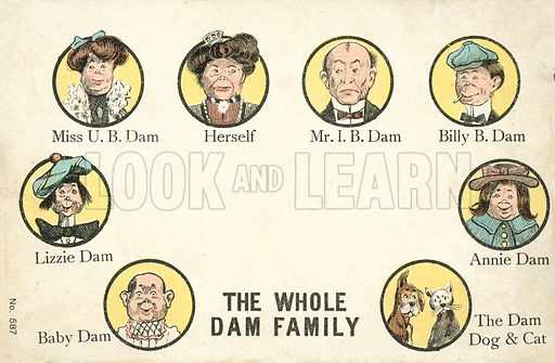 The Whole Dam Family. Postcard, early 20th century.