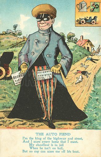 The Auto Fiend. Postcard, early 20th century. Dated: 1905.