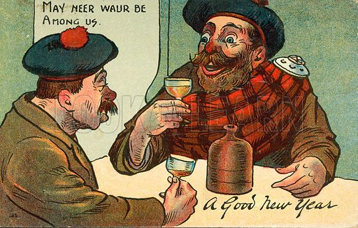 Englishman and Scotsman celebrating the New Year.  Postcard, early 20th century.