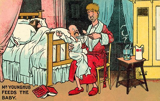 Mr YoungHub feeds the baby. Postcard, early 20th century.