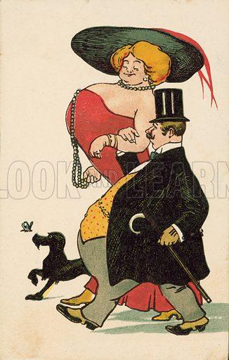 Fat man, busty lady, walking the dog. Postcard, early 20th century.