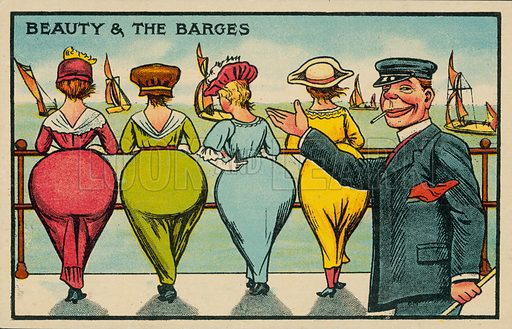 Beauty and the Barges. Postcard, early 20th century.