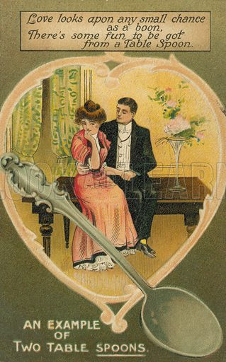 Two table spoons. Postcard, early 20th century.