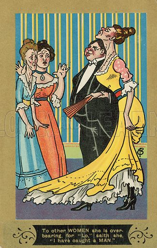 I have caught a man. Postcard, early 20th century.