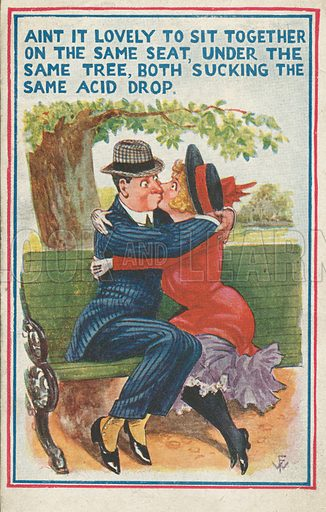 Sucking The Same Acid Drop. Postcard, early 20th century.