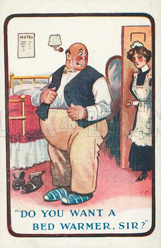 Do you want a bed warmer, Sir? Postcard, early 20th century.