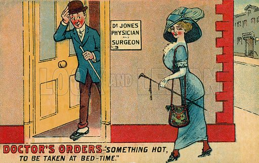 Something hot to be taken at bed time. Postcard, early 20th century.