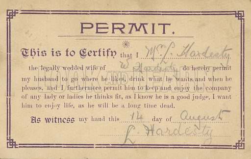 Permit to allow a husband to go where he likes, etc. Postcard, early 20th century.