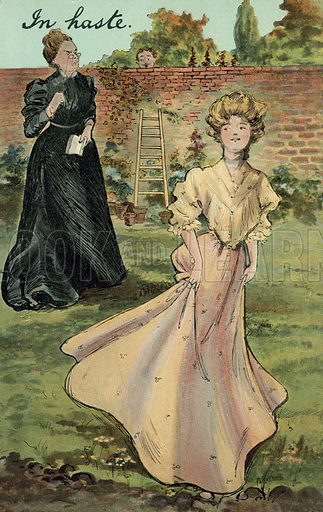 In haste. Postcard, early 20th century.