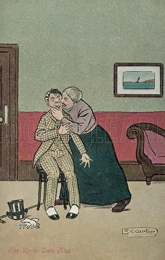 The up-to-date kiss. Postcard, early 20th century.