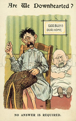 Are we downhearted? Postcard, early 20th century.