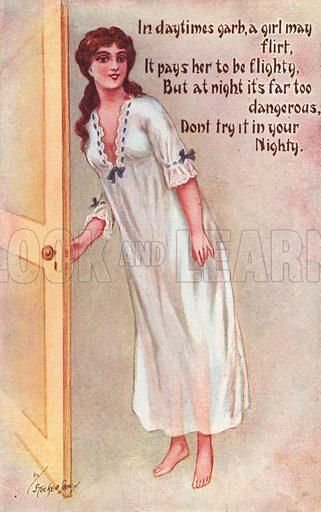 Girl in nighty. Postcard, early 20th century.