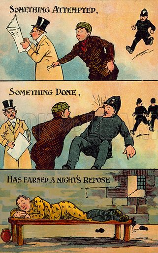 Crime. Postcard, early 20th century.