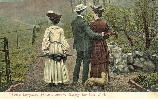 Two's Company, Three's None. Postcard, early 20th century.